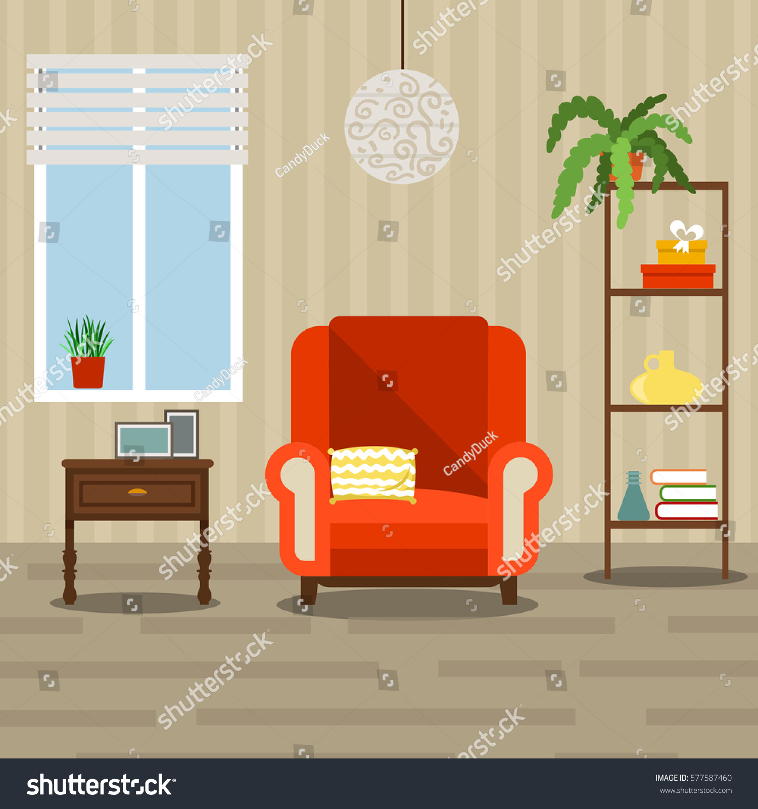 Interior Of Modern Living Room In Flat Design Stock Vector: Vector Image Illustration Room Living Room Stock Vector