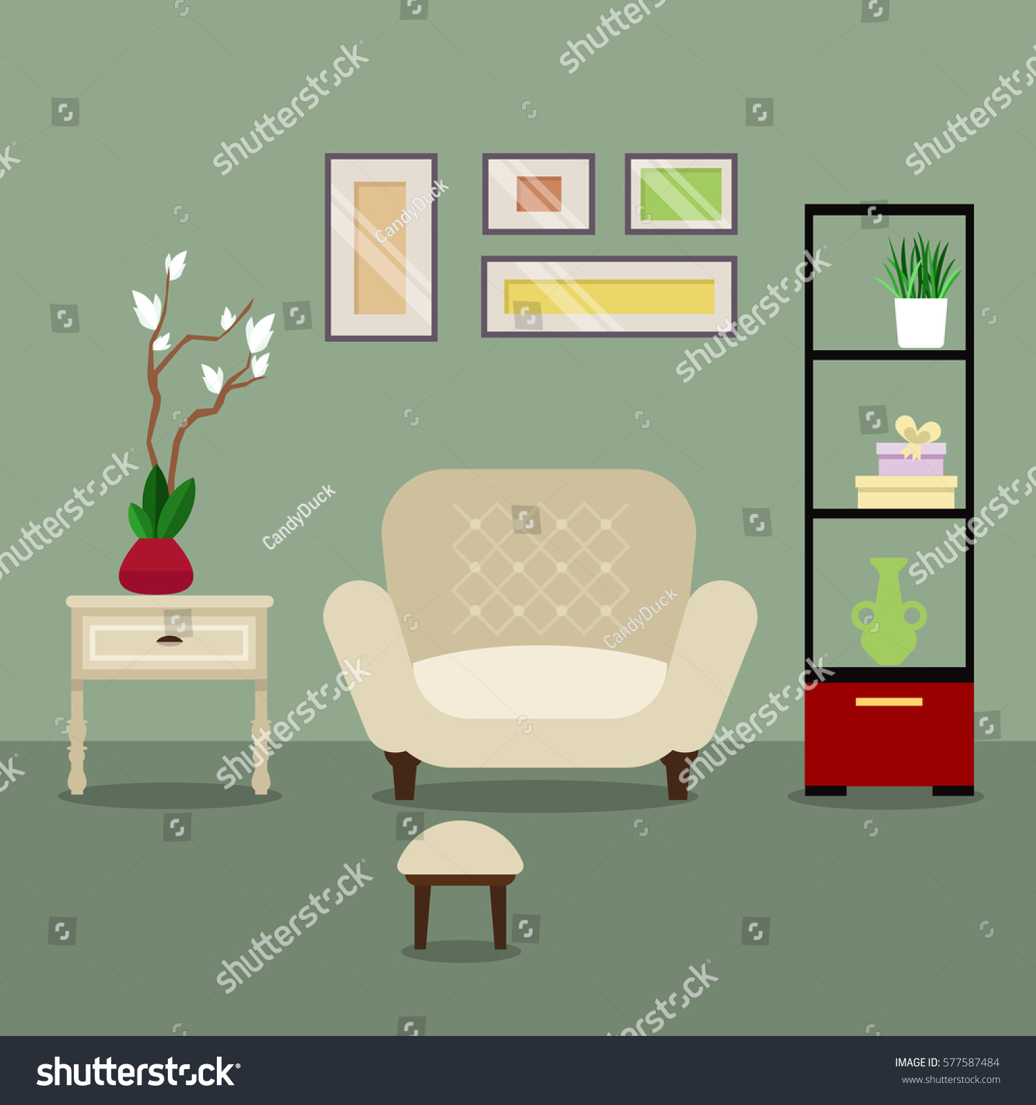 Vector image illustration room living room stock vector for Interior design images vector