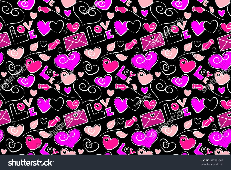 Abstract Love Symbols Black Backdrop Stock Illustration Shutte