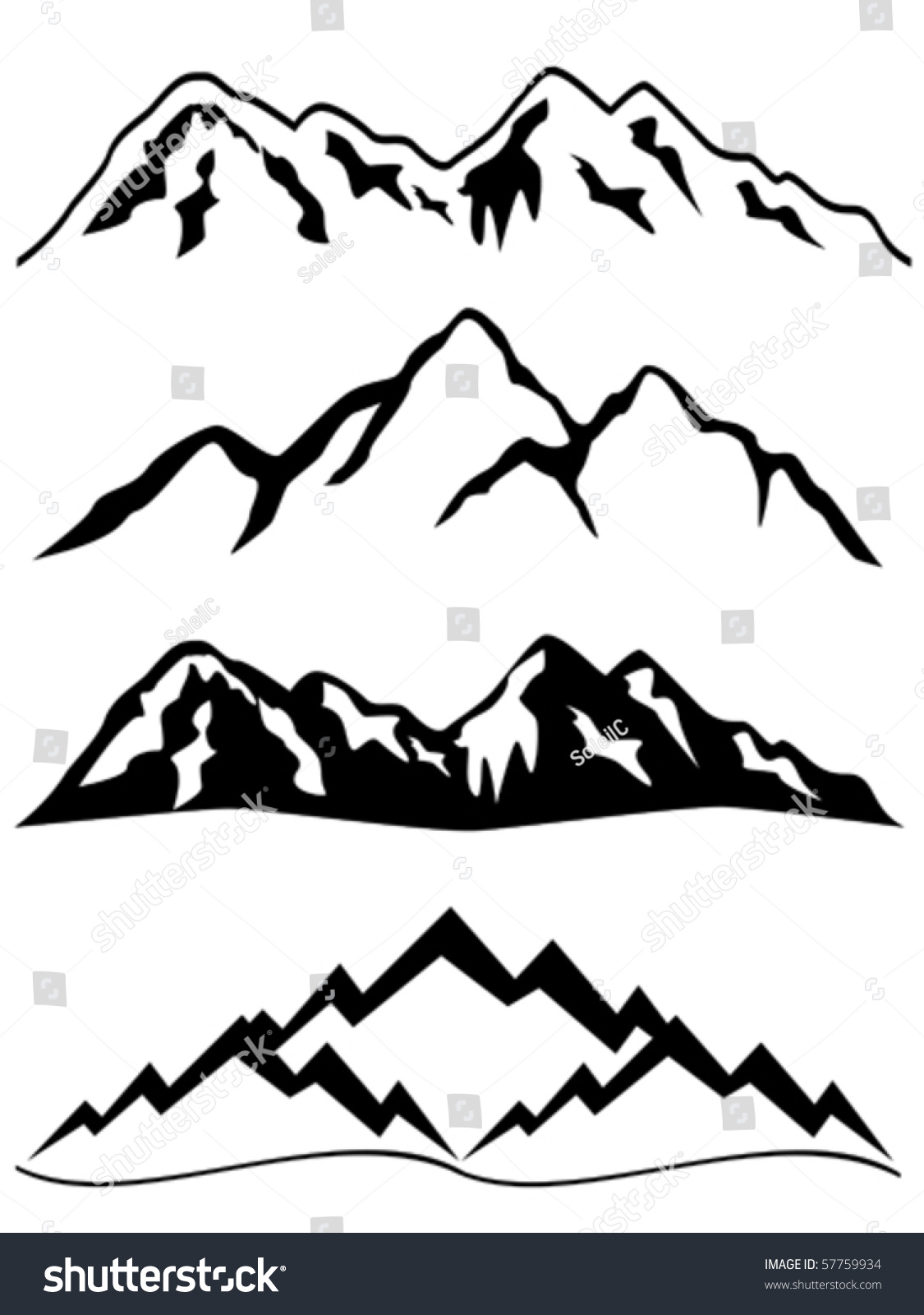 ... Outline Summits mountains stock vectors & vector clip art shutterstock