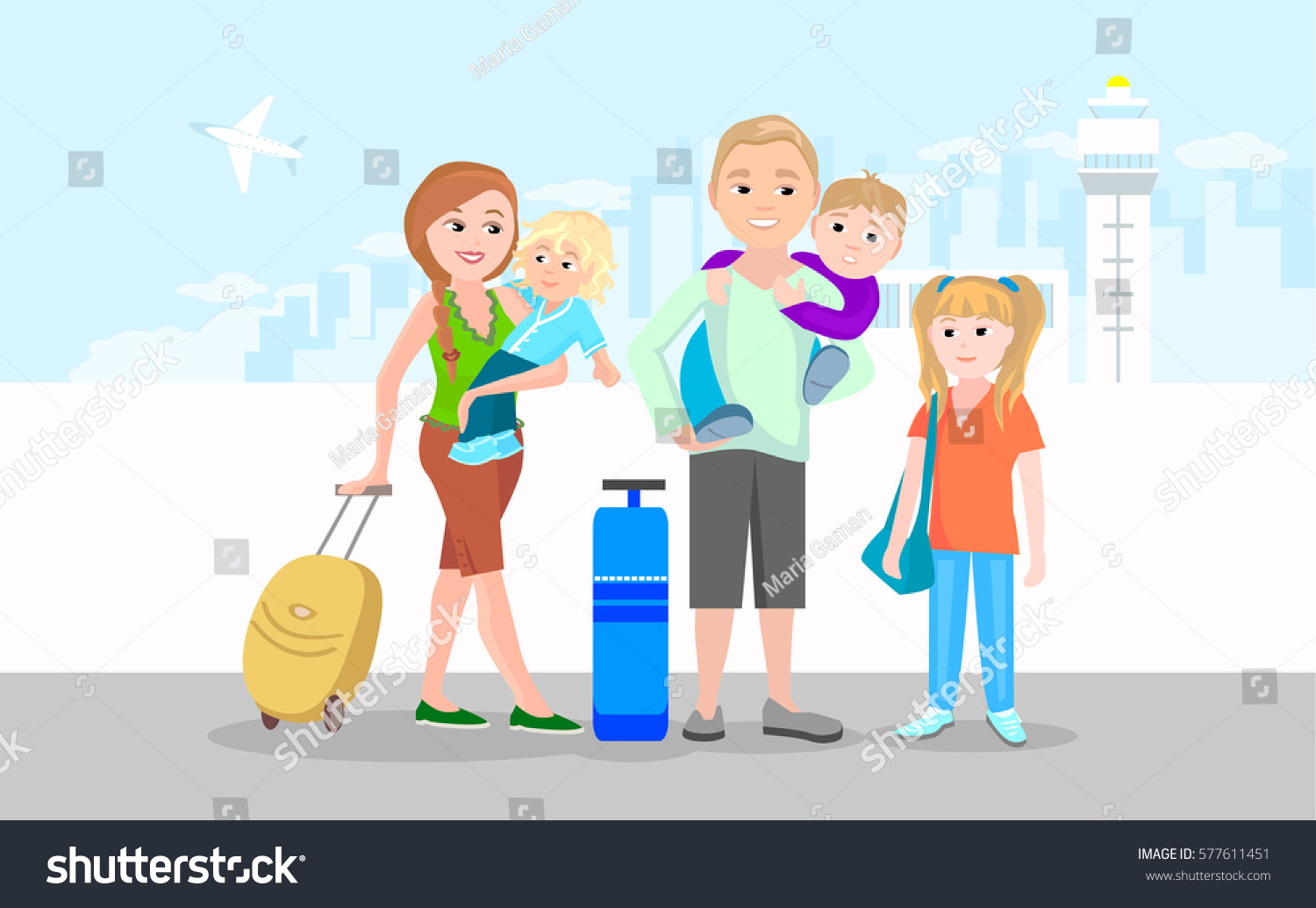 Young Family With Children In Front Of The Airport Building Man And Woman Luggage