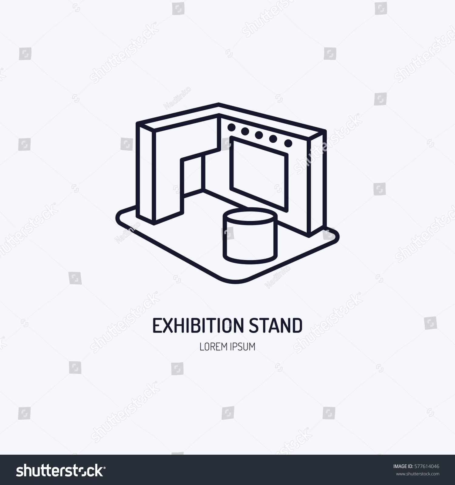 Sungard Exhibition Stand Vector : Exhibition banner stand vector line icon stock