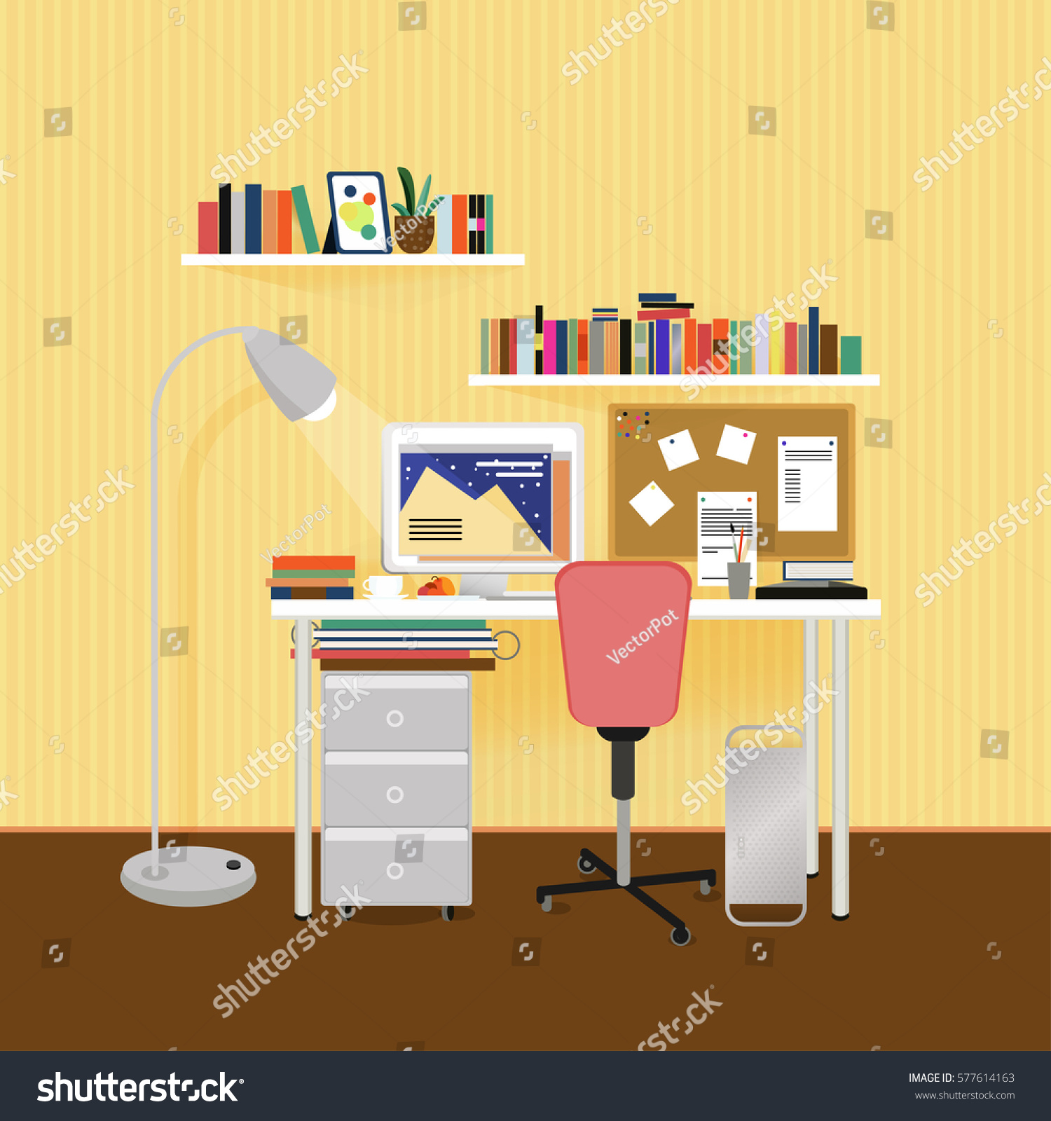 Flat Designer Workplace Concept With Furniture Equipment Tools Stationery  And Striped Light Wallpaper Vector Illustration