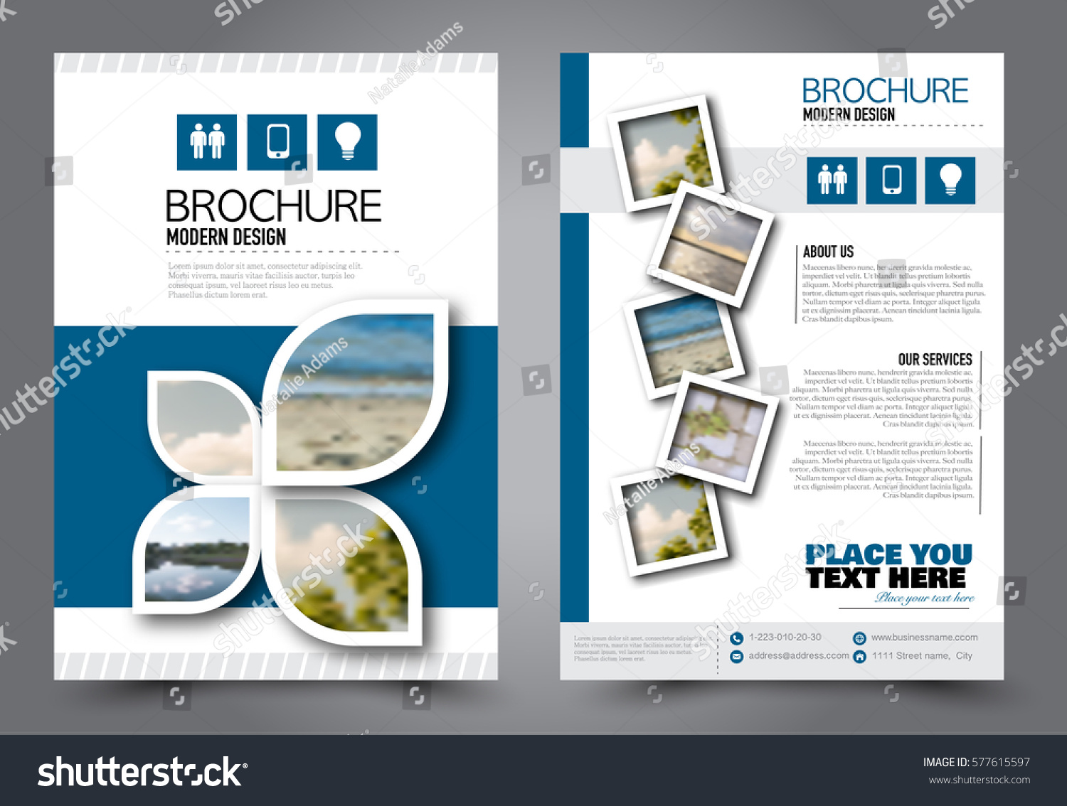 Flyer design business brochure template annual stock for Booklet brochure template