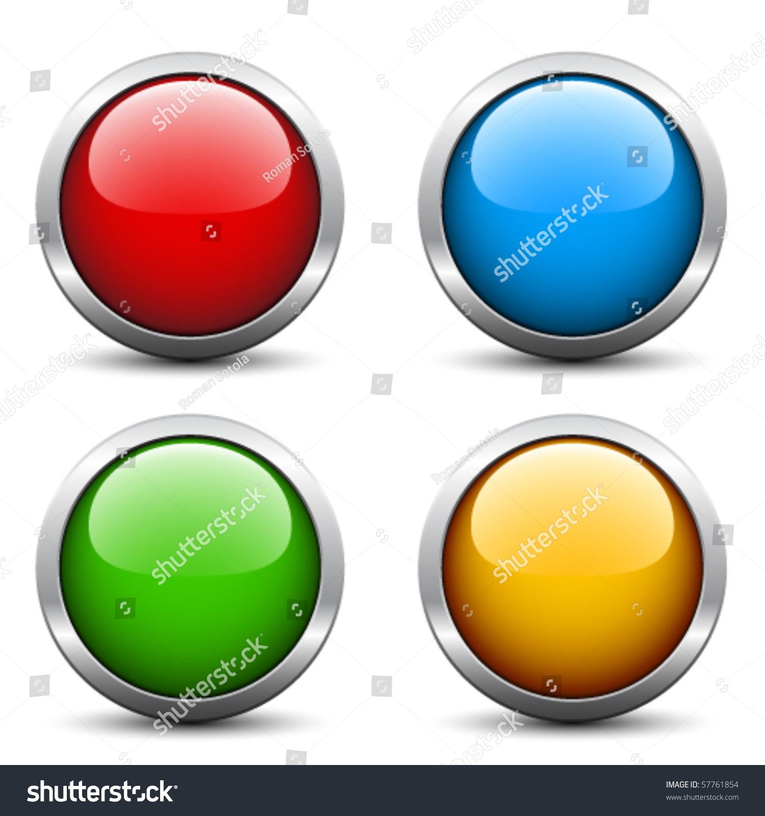 Vector Glossy Buttons Stock Vector 57761854 - Shutterstock