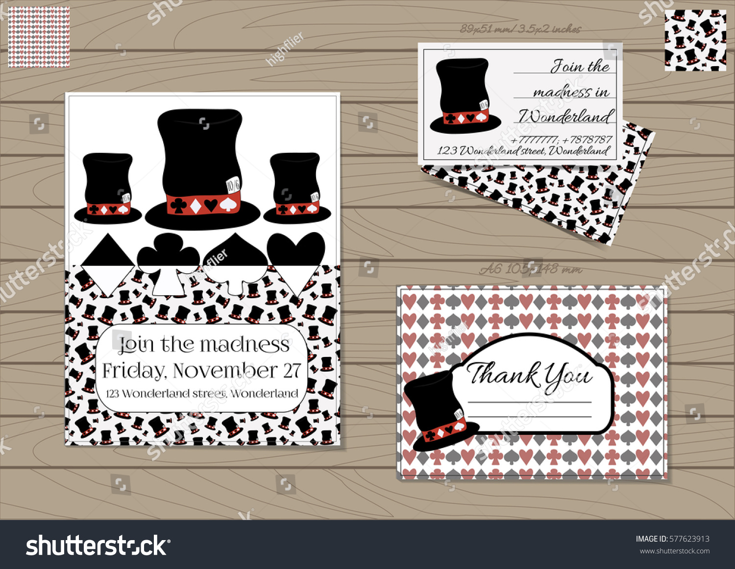 mad hatter hat alice wonderland set stock vector royalty free