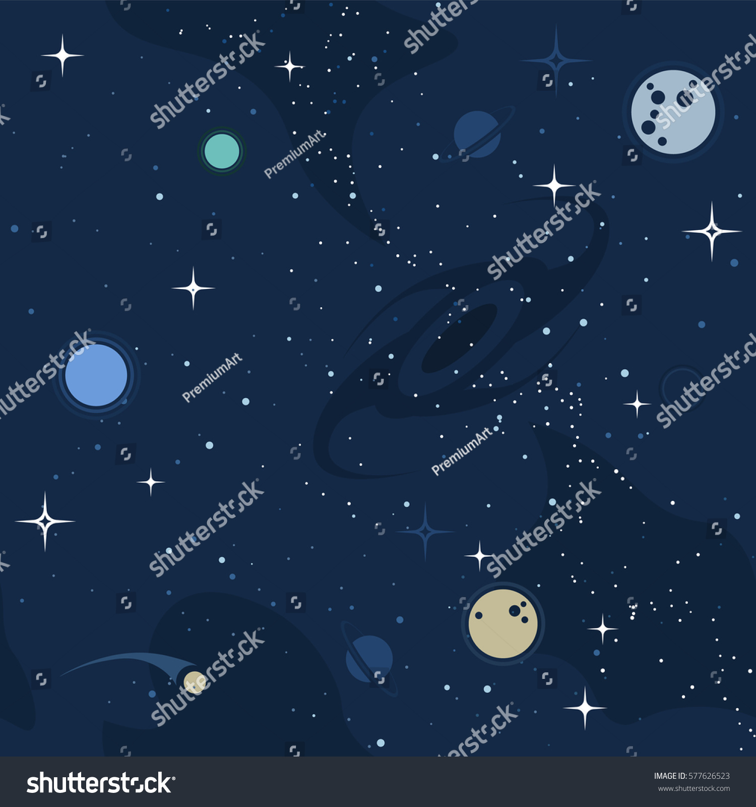Vector flat space seamless pattern background stock vector for Outer space pattern