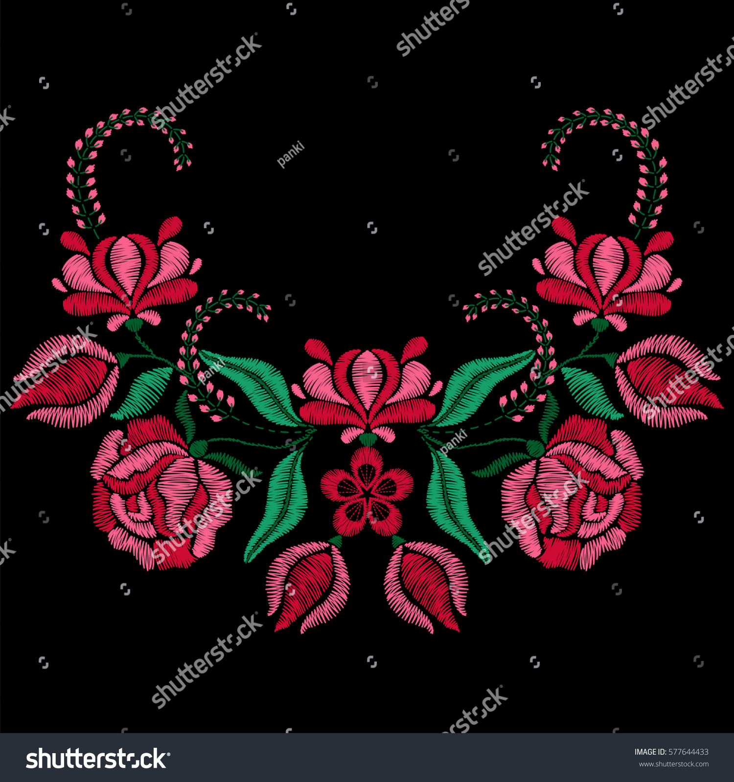 Embroidery Roses Spring Flowers Necklace Fabric Stock Vector ...