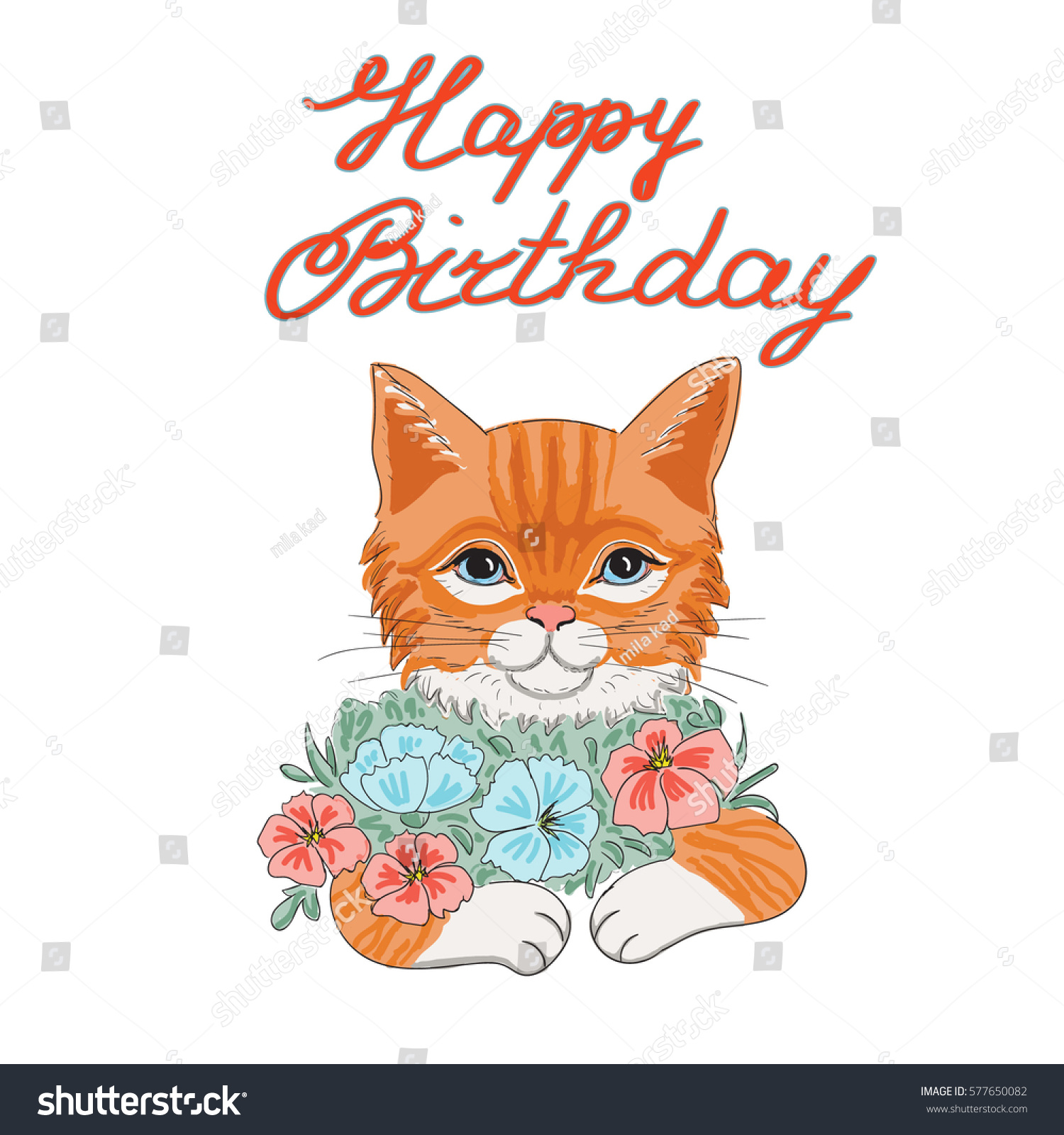 vector birthday card red cat words stock vector royalty free