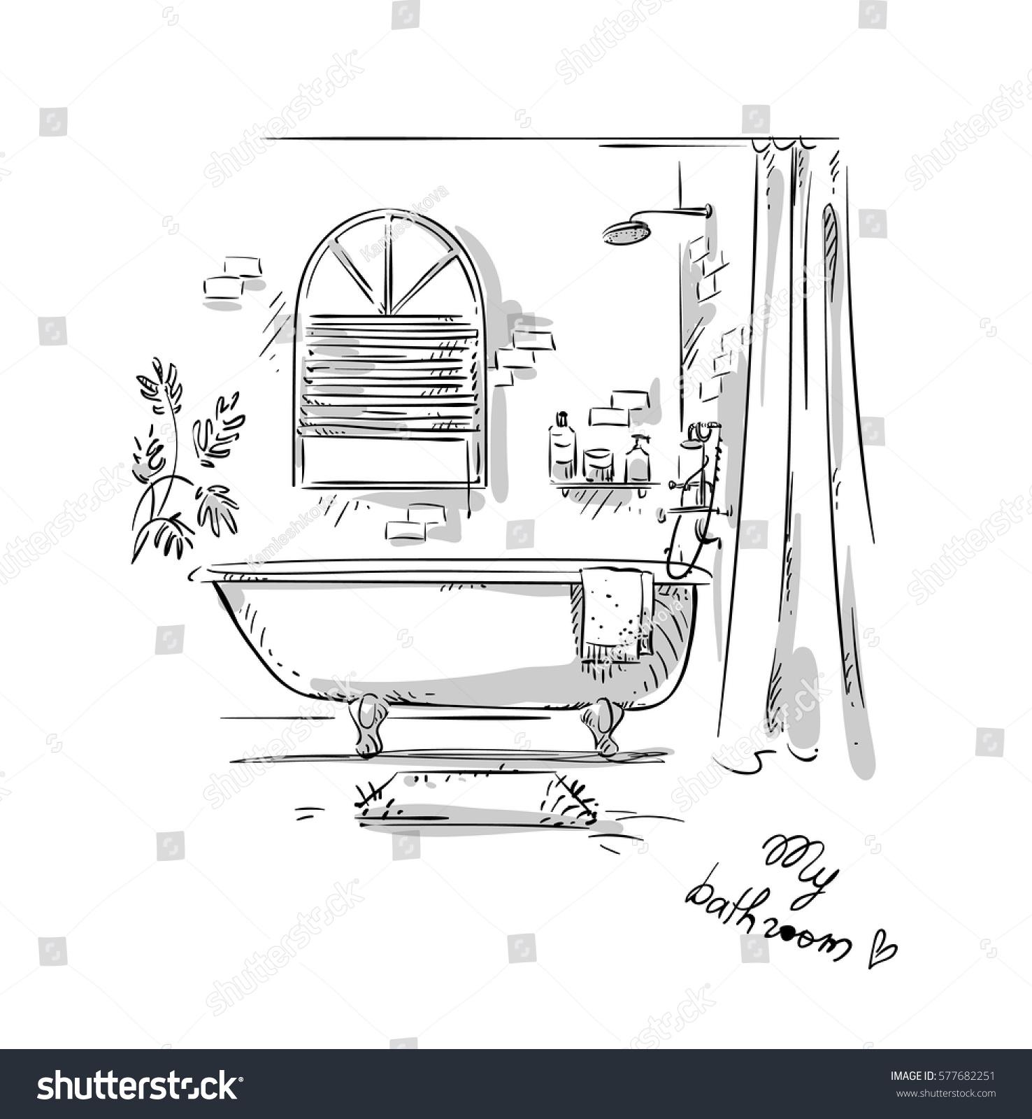 Bathroom Drawing Interior Design Vector Illustration Stock Vector
