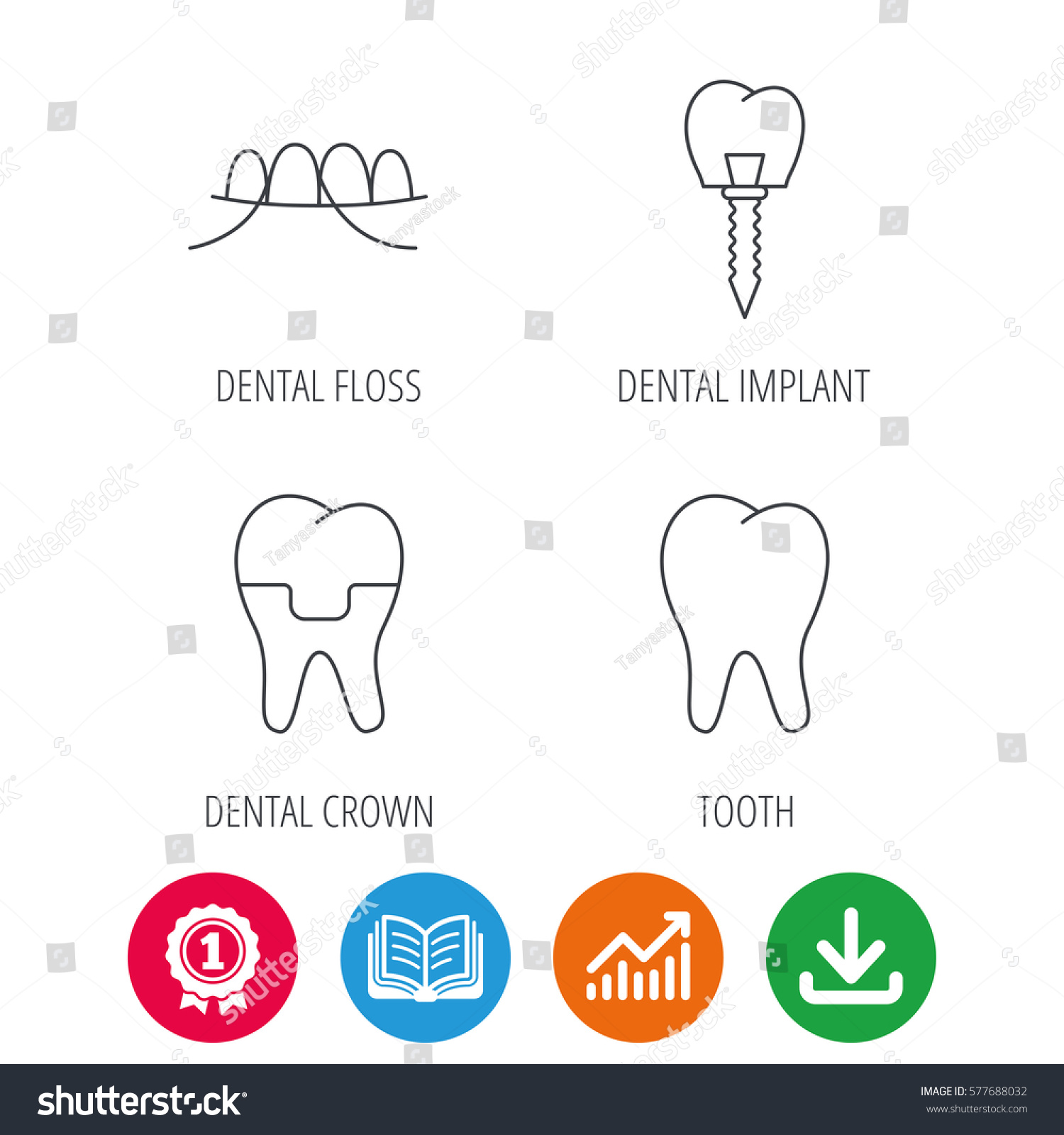 Dental Implant Floss Tooth Icons Dental Stock Vector 577688032