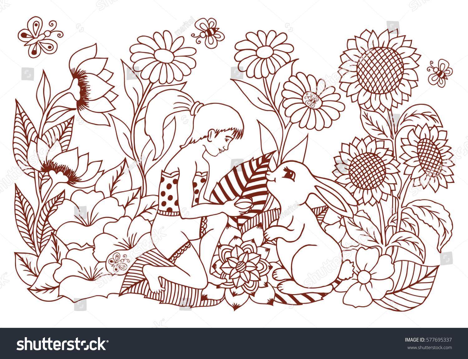 Do anti stress colouring books work - Do Anti Stress Colouring Books Work Vector Illustration A Girl In Flowers With The Bunny