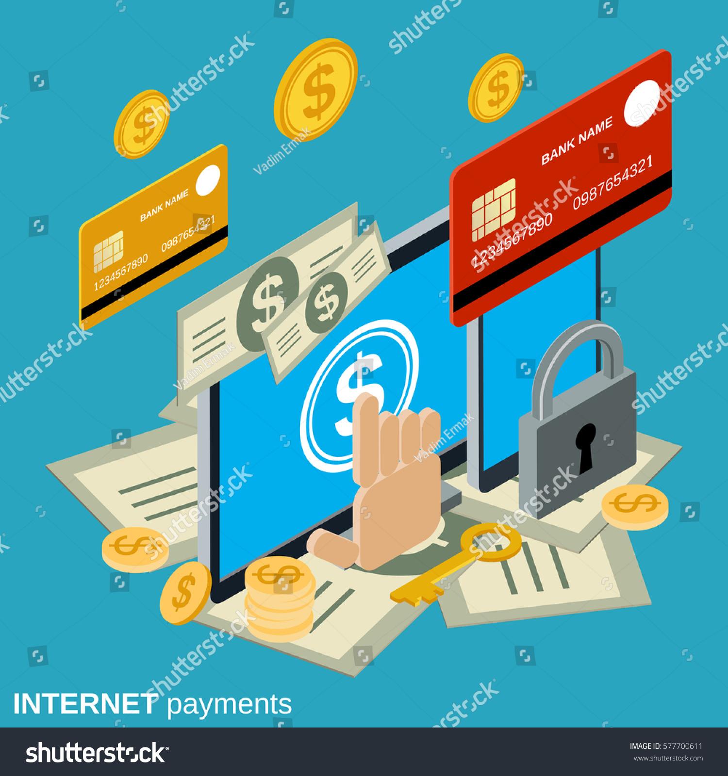 Internet Payment Online Banking Money Transfer Stock Vector (2018 ...