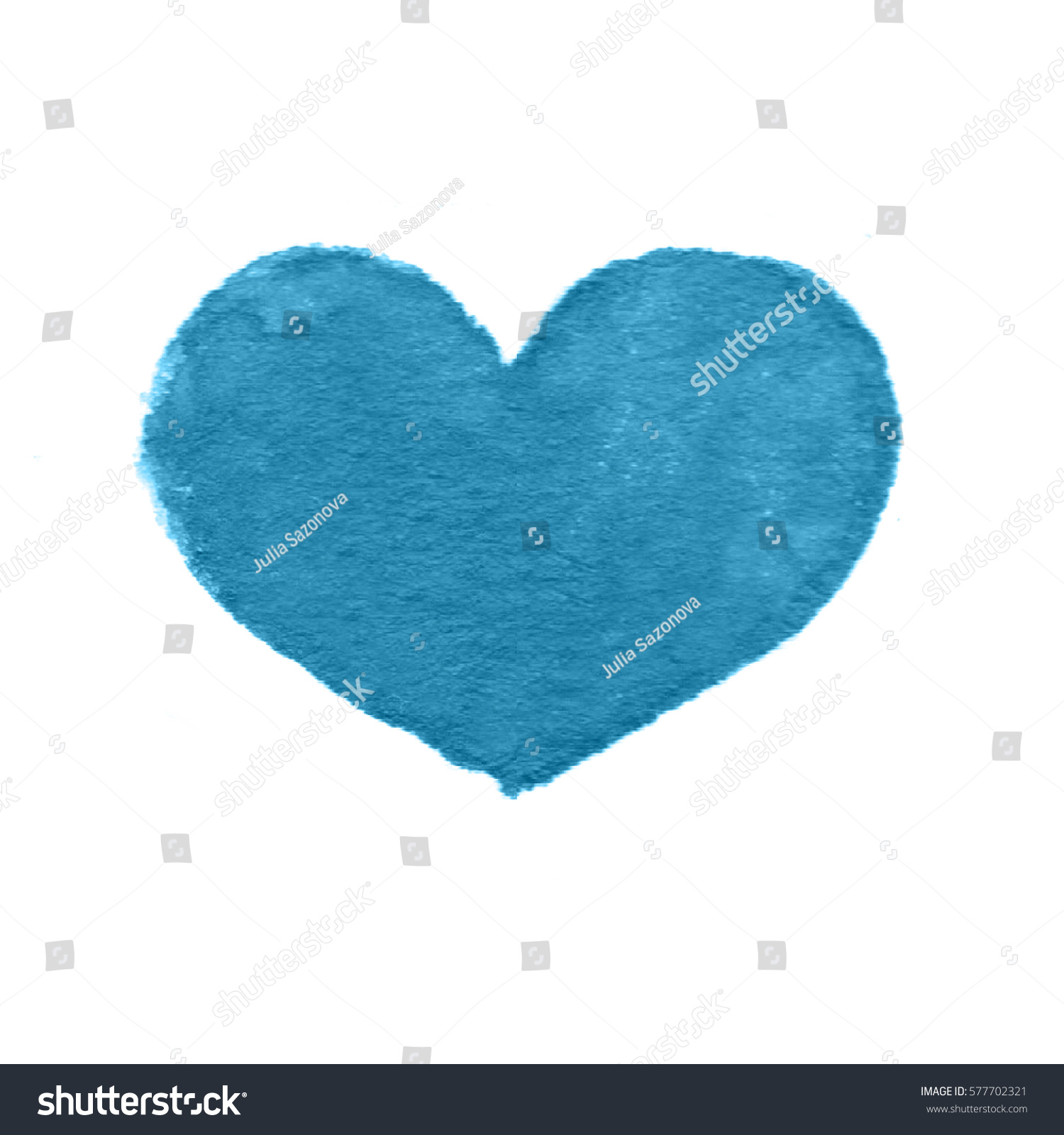 Mint Watercolor Heart On White Background Stock Illustration
