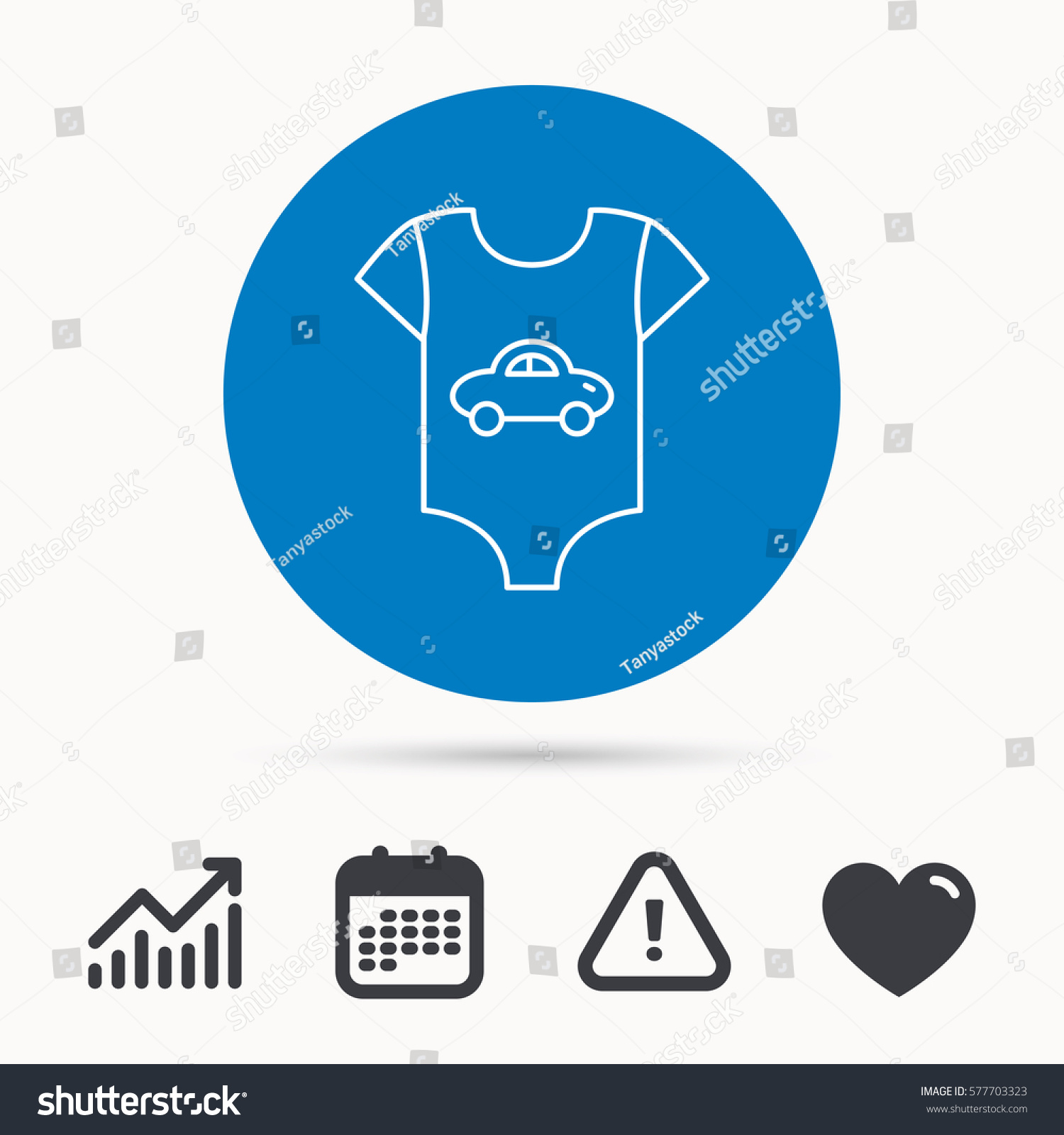 Newborn clothes icon baby shirt wear stock vector 577703323 newborn clothes icon baby shirt wear sign car symbol calendar attention sign geenschuldenfo Choice Image