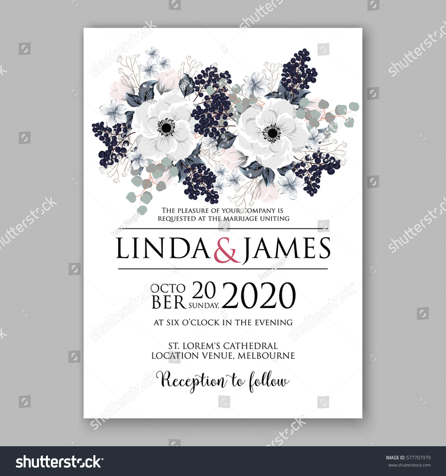 Anemone Wedding Invitation Card Template Floral Stock Photo (Photo ...