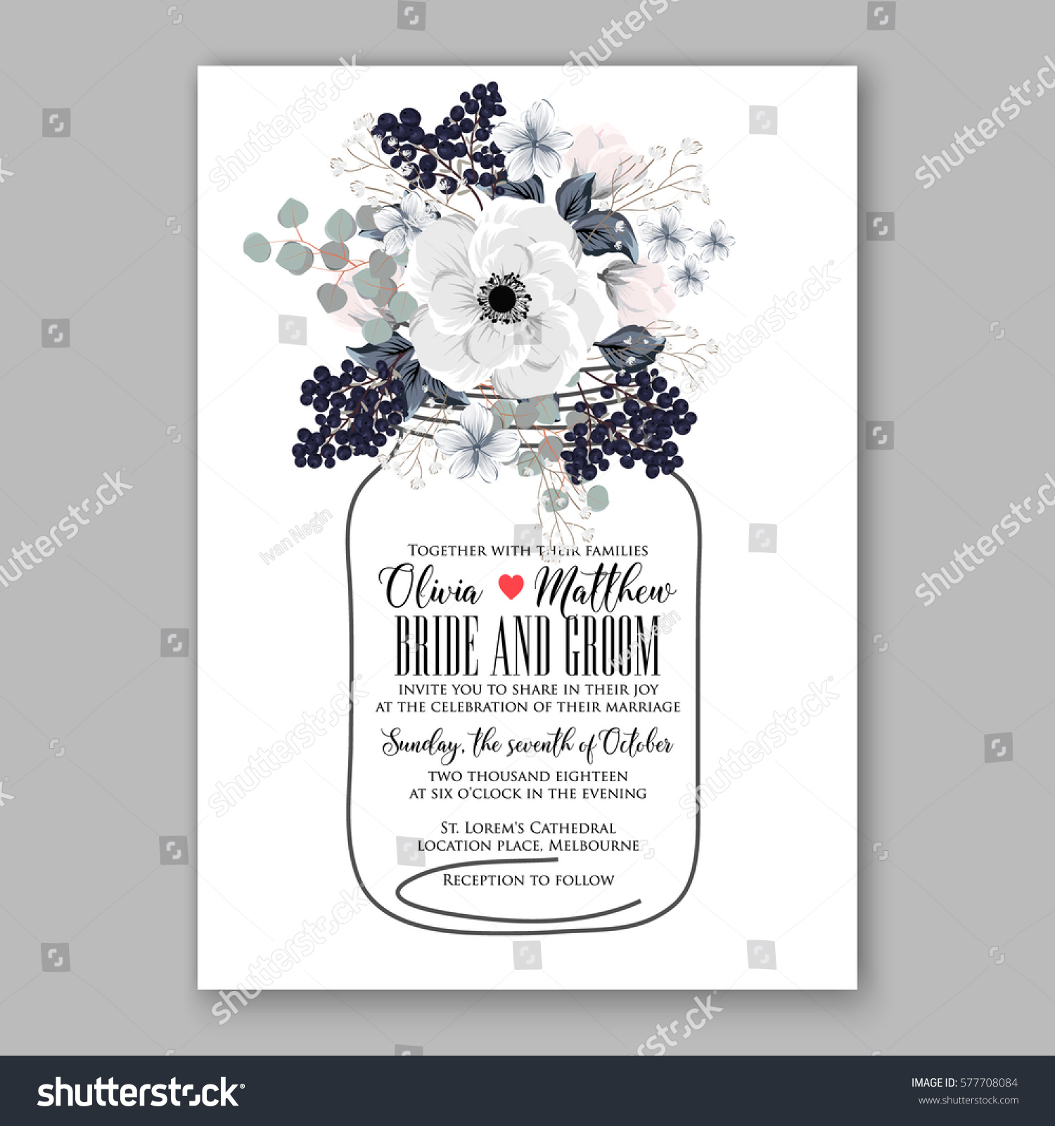 Anemone Wedding Invitation Card Template Floral Stock Vector (2018 ...