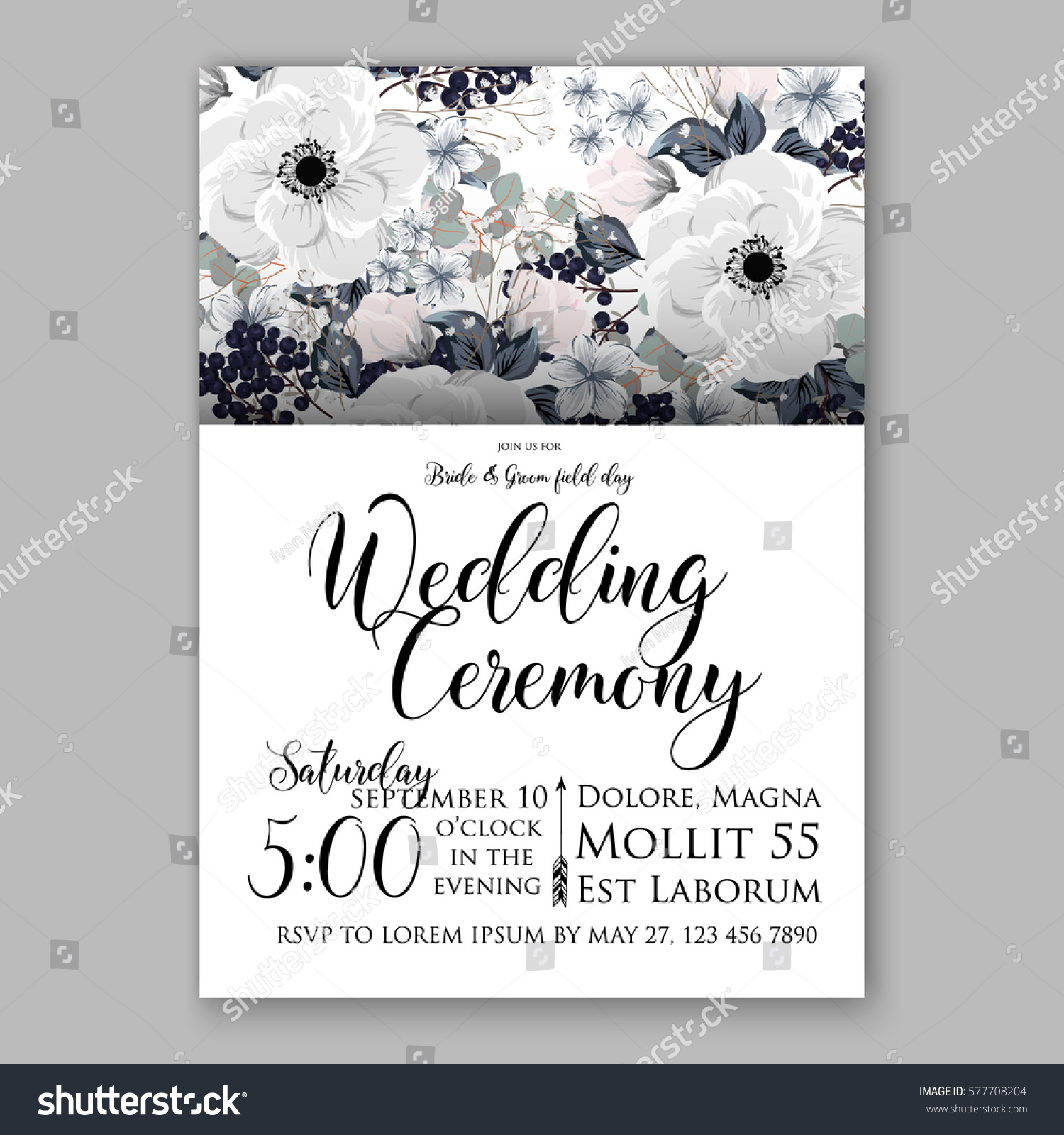 Anemone Wedding Invitation Card Template Floral Stock Vector ...