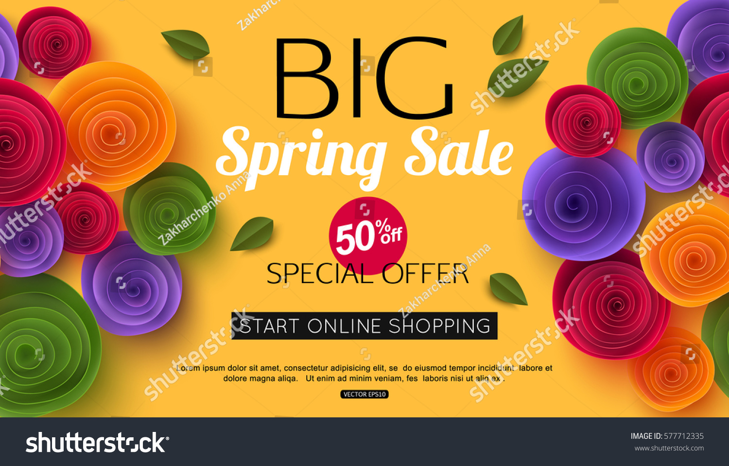 Spring sale banner paper flowers online stock vector 577712335 spring sale banner with paper flowers for online shopping advertising actions magazines and websites dhlflorist Image collections