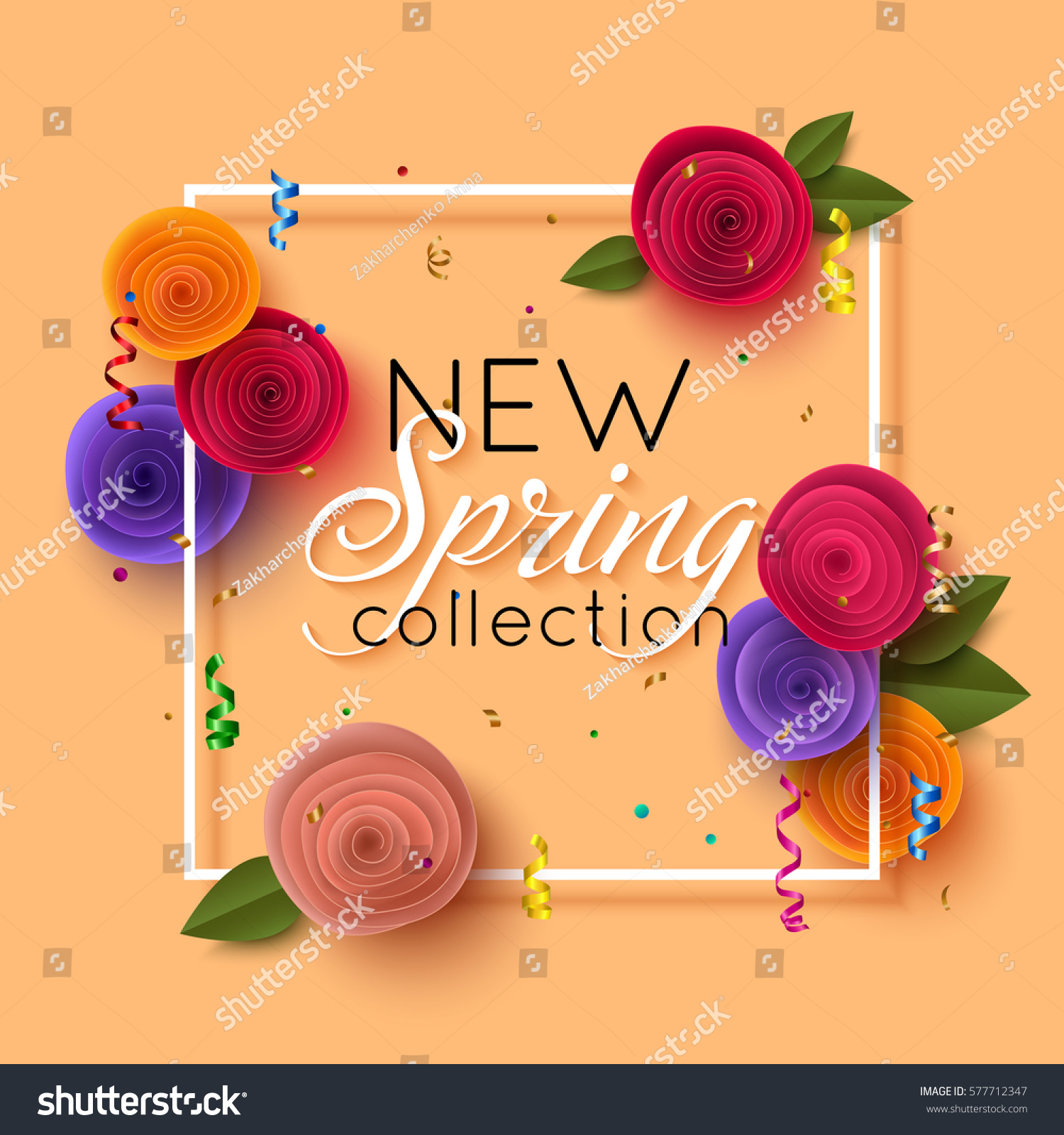 Spring banner paper flowers online shopping stock vector 577712347 spring banner with paper flowers for online shopping advertising actions magazines and websites dhlflorist Image collections
