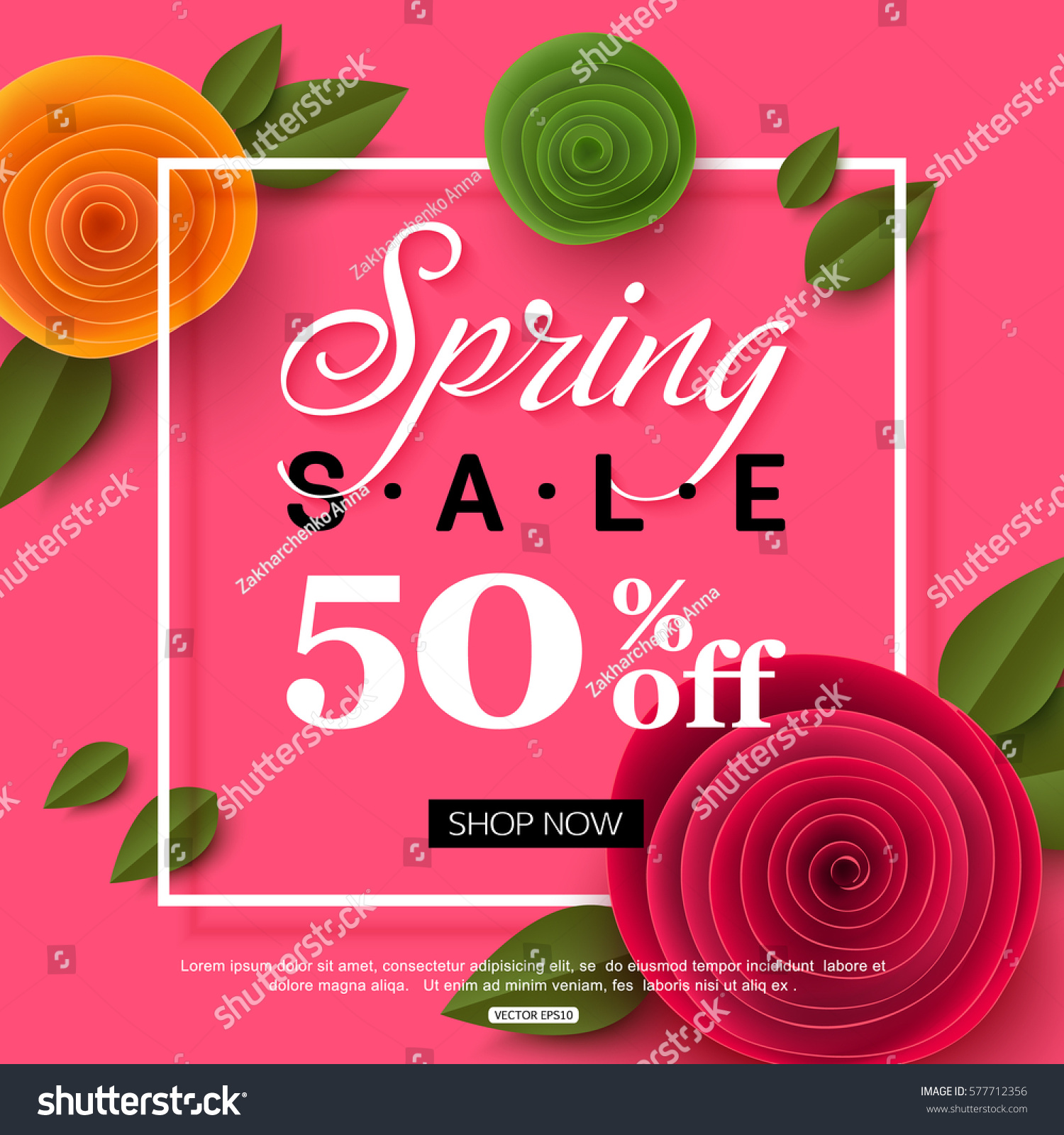 Spring sale banner paper flowers online stock vector 577712356 spring sale banner with paper flowers for online shopping advertising actions magazines and websites dhlflorist Image collections