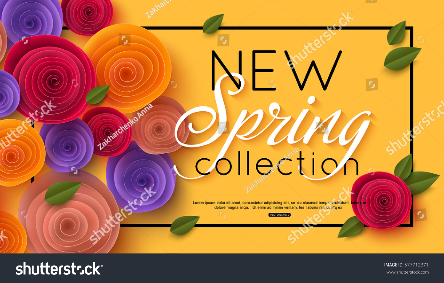 Spring banner paper flowers online shopping stock vector 577712371 spring banner with paper flowers for online shopping advertising actions magazines and websites dhlflorist Image collections