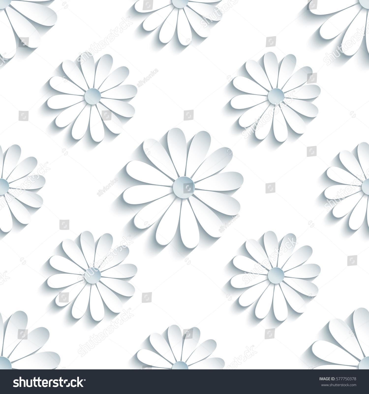 Beautiful modern light background seamless pattern stock for 3d white flower wallpaper
