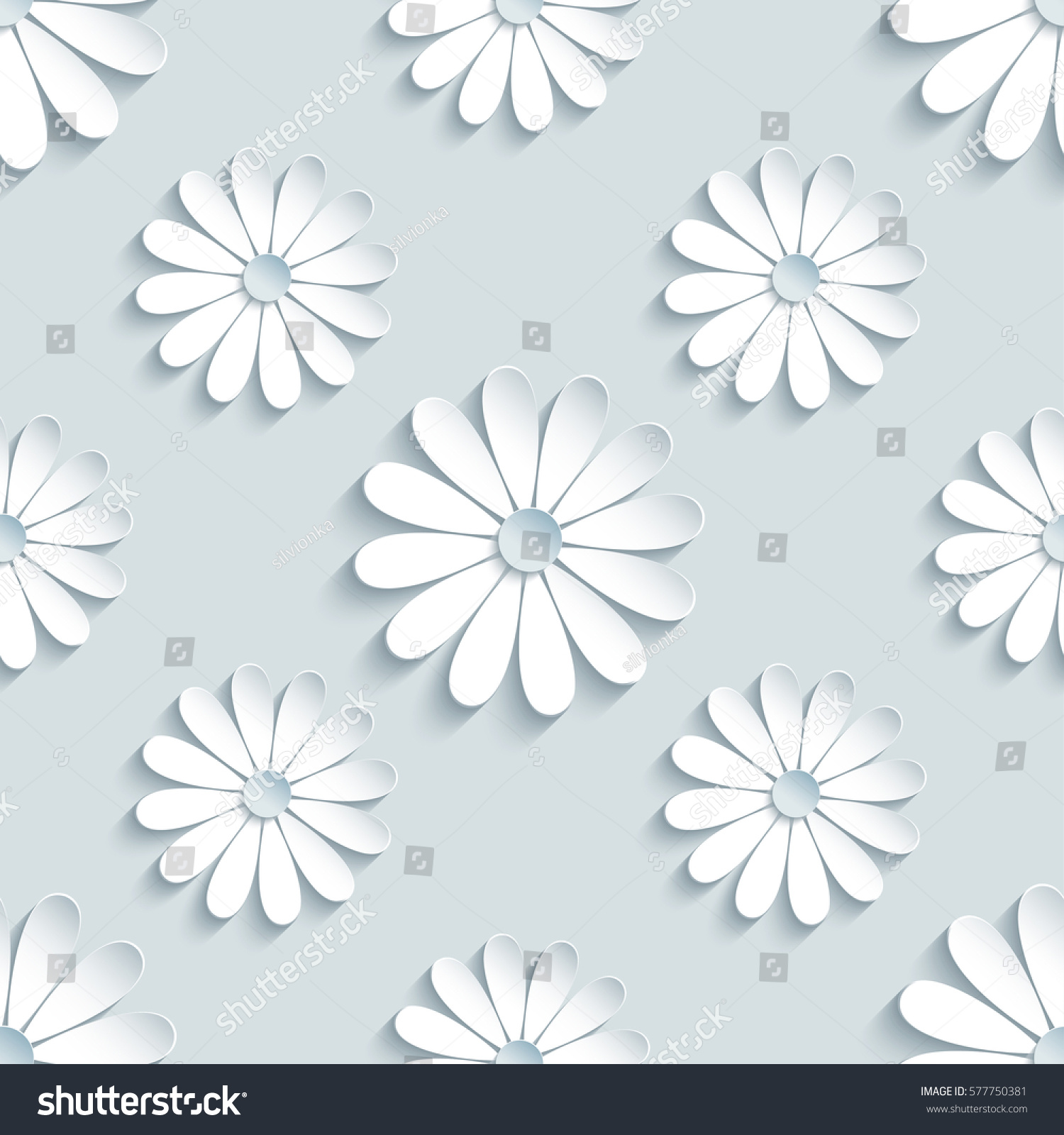 Beautiful Modern Grey Background Seamless Pattern With White 3d