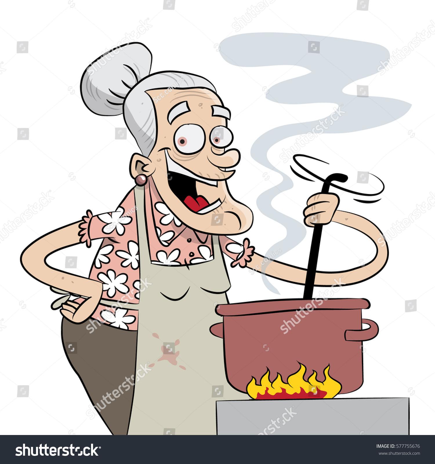 Grandma Cooking Stock Vector 577755676 - Shutterstock