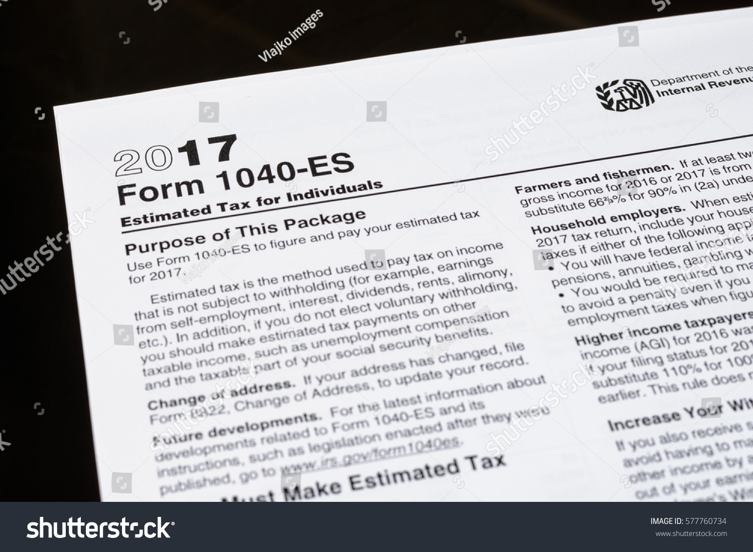 Form 1040 Es Estimated Tax Individuals United Stock Photo Edit Now