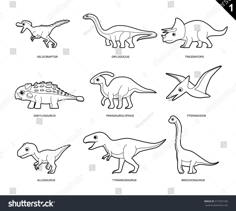 Dinosaur Coloring Book Cartoon Vector Illustration Set 1