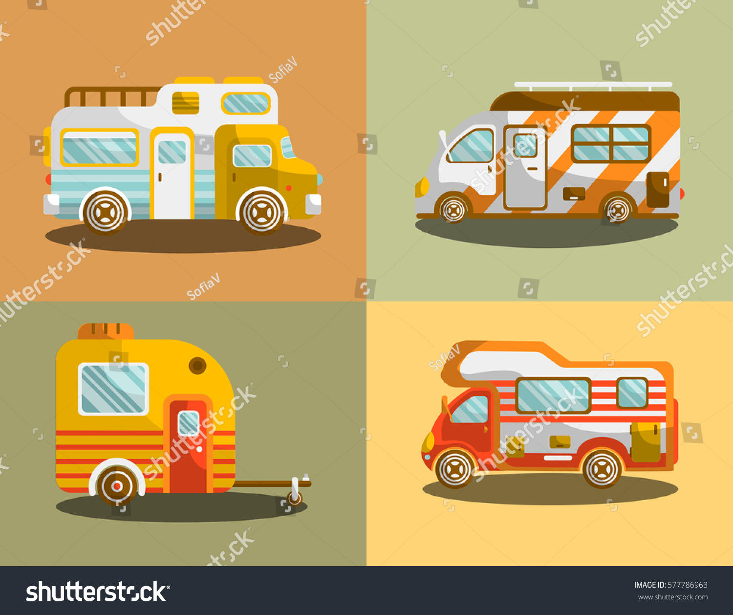Vectors Illustrations Footage Music Camping Bus Or Camper Van Motorhome Car Vehicle Types Holiday Trip Mobile Accommodation Of