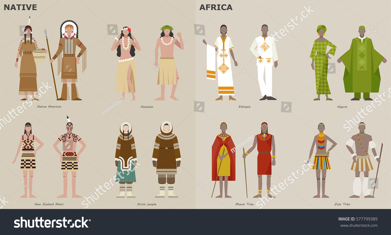 Character Costume Design Tutorial : Traditional costumes by country people character stock