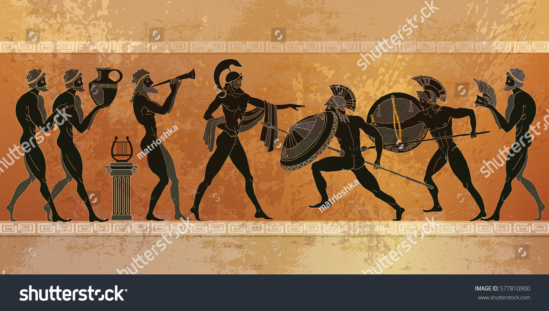 Ancient Greece scene. Black figure pottery. Ancient Greek mythology. Warriors Sparta people, gods