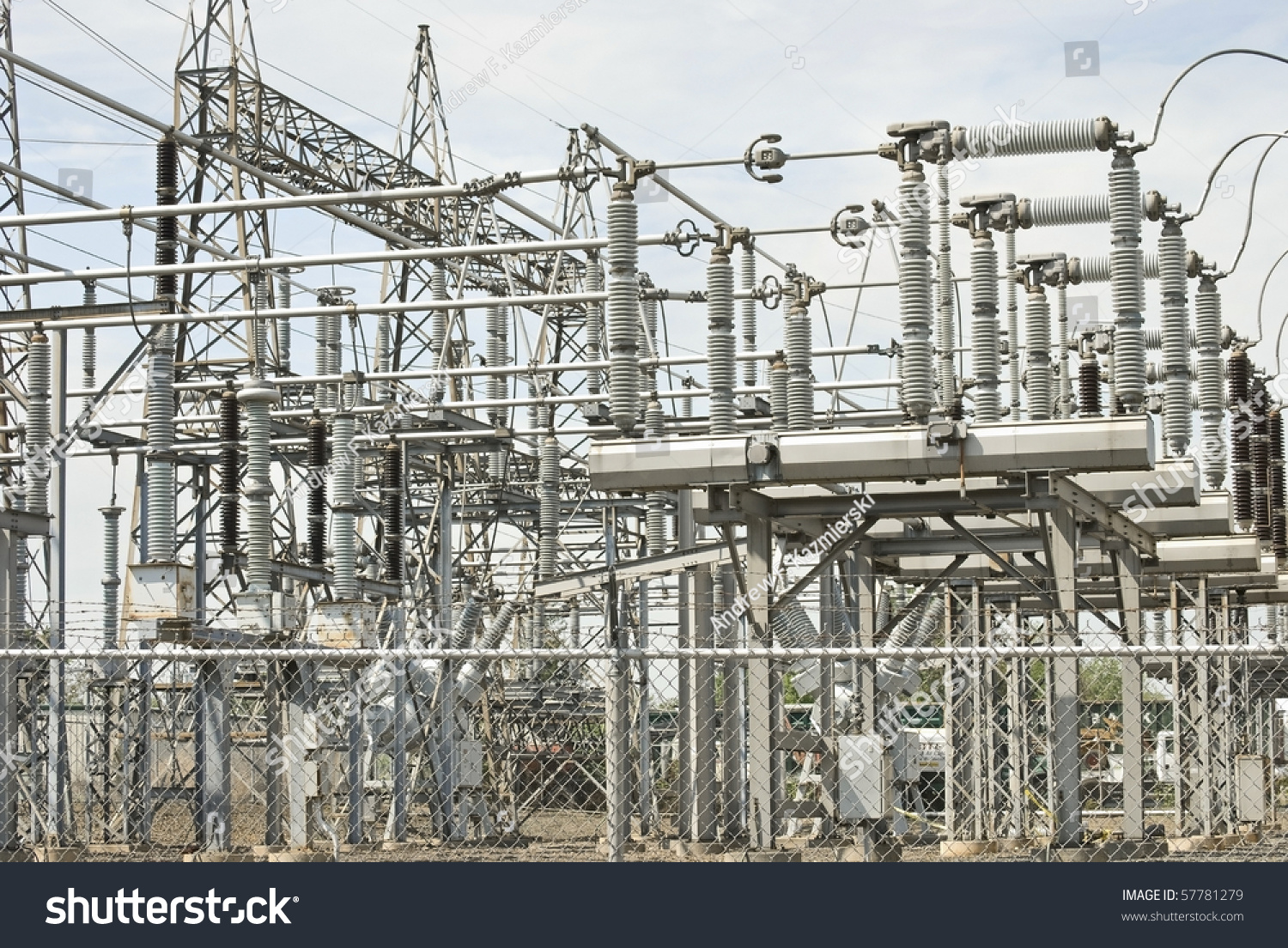 A view of electrical power plant equipment and cables.