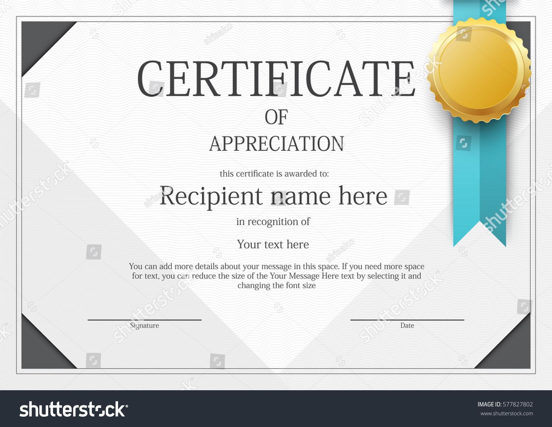 Award Certificate Template Design Vector Stock Vector Royalty Free