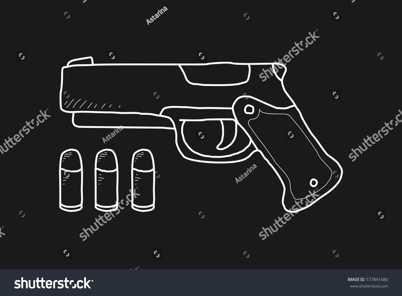 Pistol bullet doodle stock vector 577841680 shutterstock pistol and bullet doodle buycottarizona