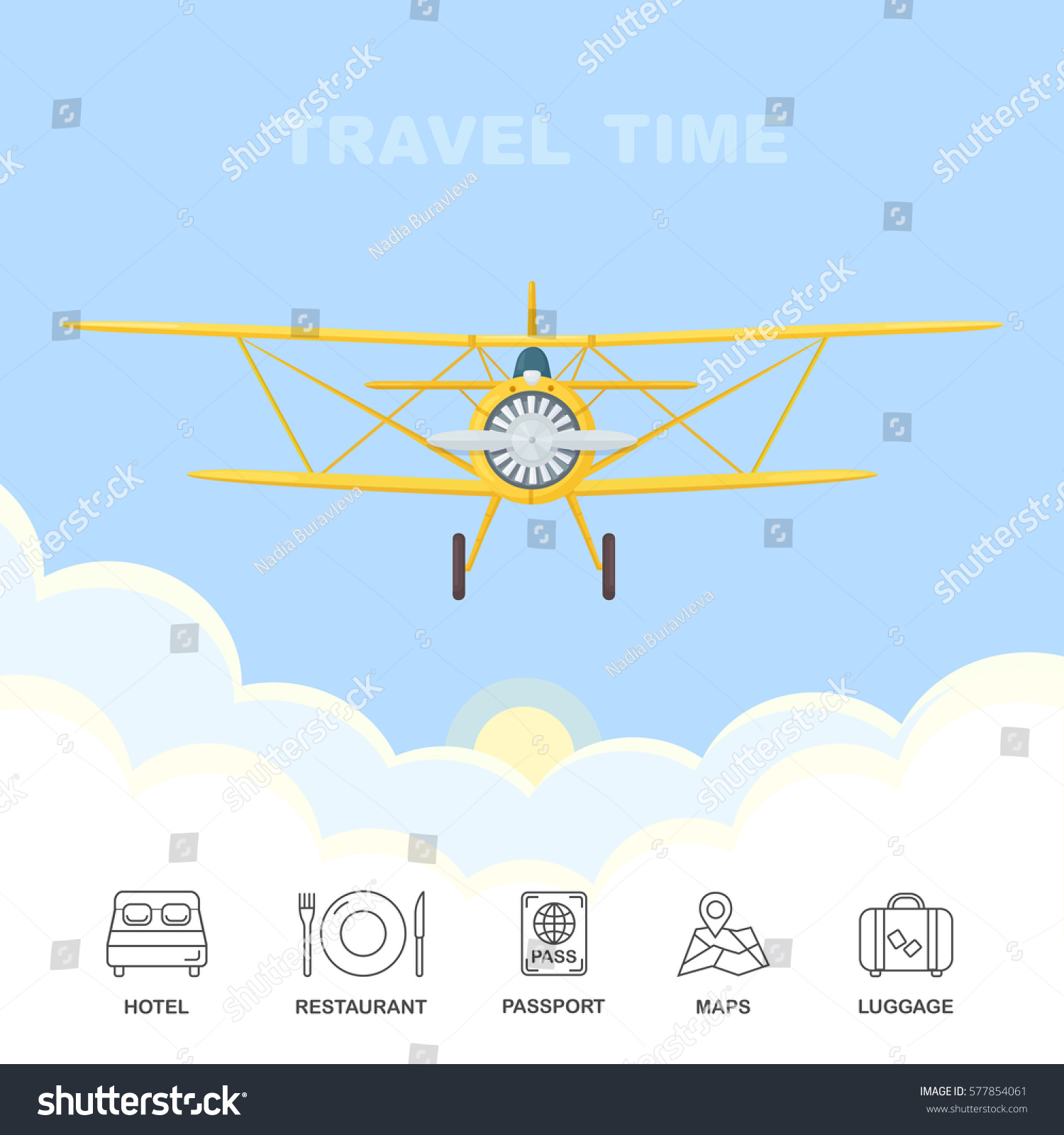 Vintage Airplane Flying Through Clouds Sky Stock Vector - Vintage aviation maps
