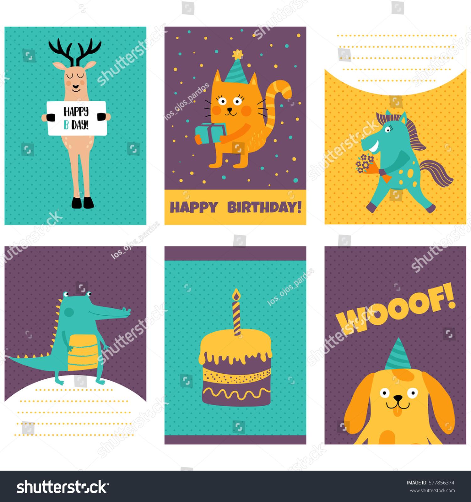 Vector Set Birthday Cards Funny Animals Vector 577856374 – Set of Birthday Cards