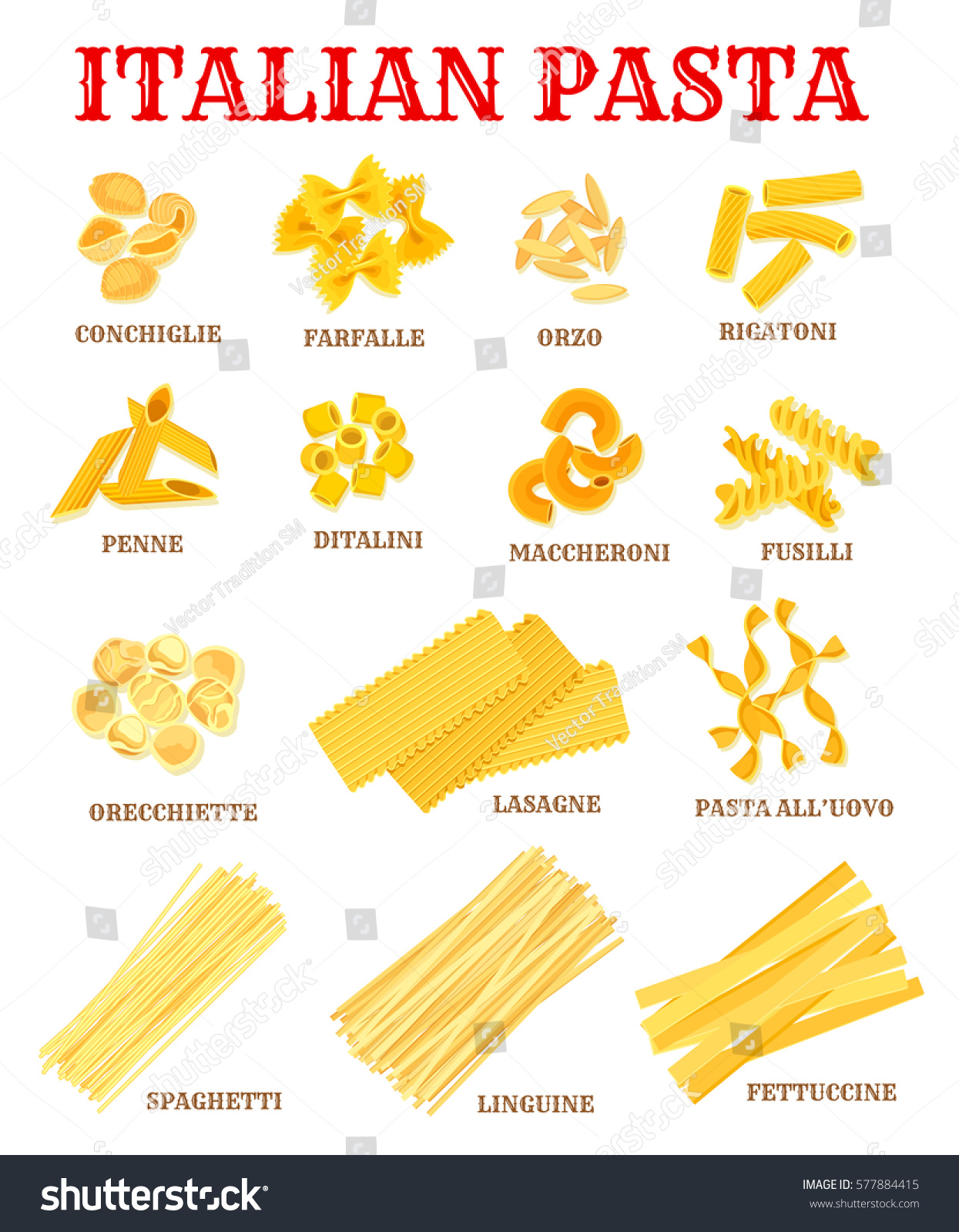 Italian pasta list different shapes names stock vector for Italian food list