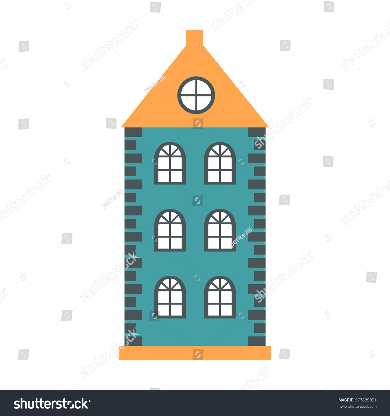House design cartoon - Vector Illustration With Flat Cartoon House For City Or Town Design Urban Landscape Background