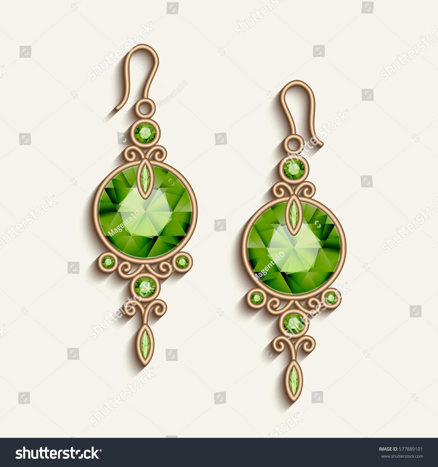 Vintage Gold Jewelry Earrings Green Gemstones Stock Vector