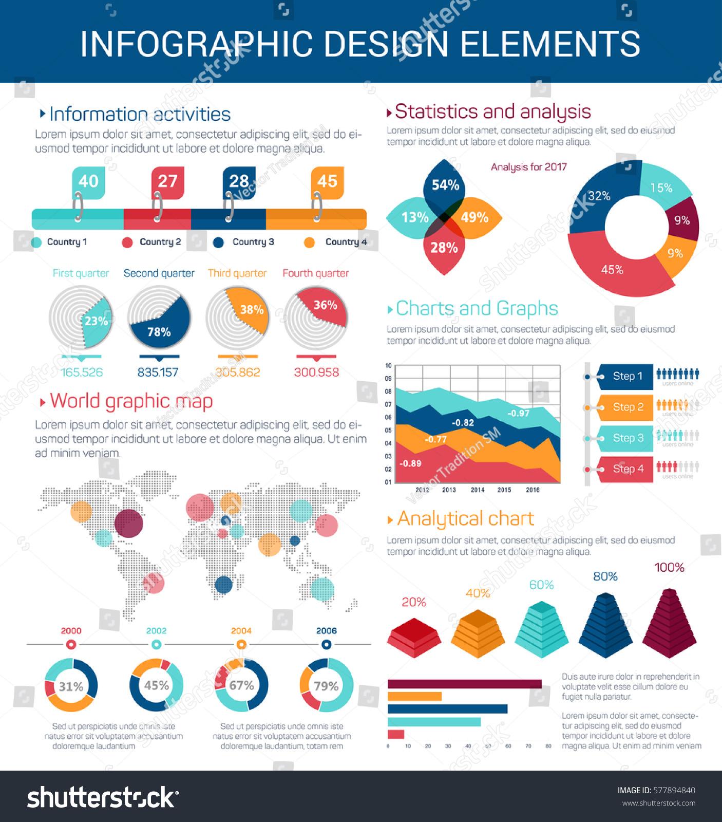 Infographic Design Elements Pie Petal Chart Stock Vector ...