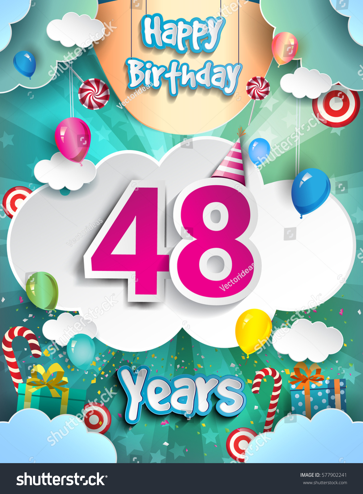 48 Years Birthday Design Greeting Cards Stock Vector Royalty Free