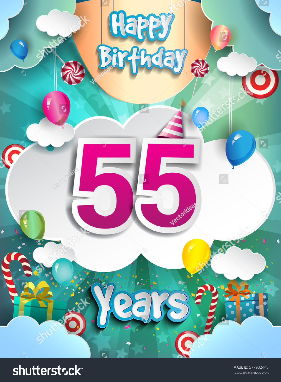 55 Years Birthday Design For Greeting Cards And Poster With Clouds Gift Box Balloons Template Anniversary Celebration