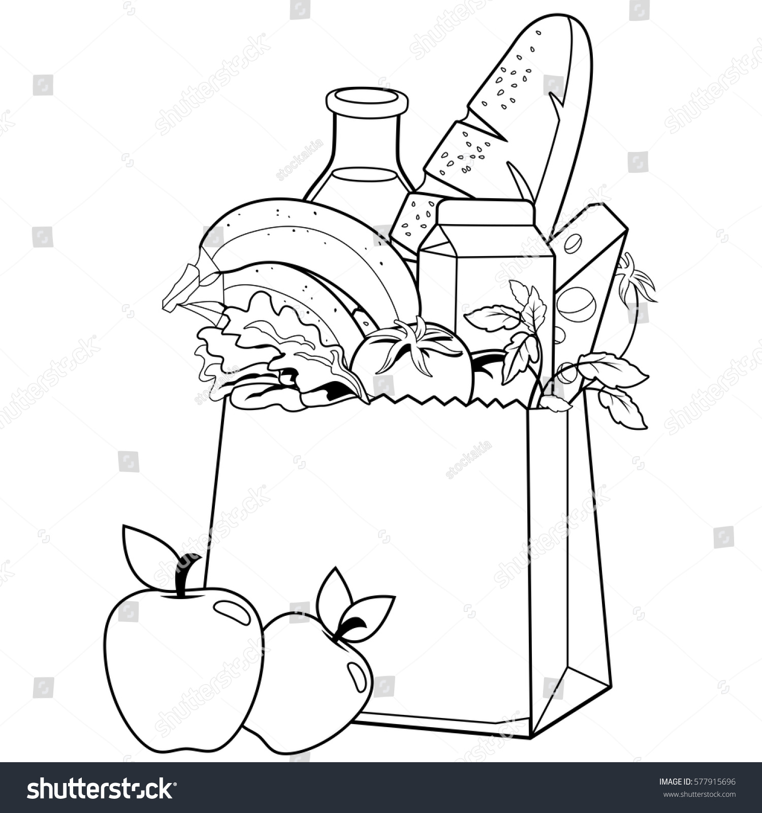 Coloring book bag - Bag With Groceries Coloring Book Page