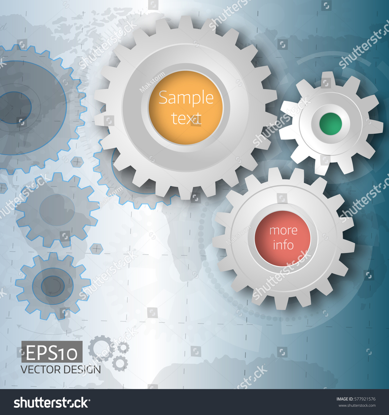 Vector illustration gears on blueprint background stock vector vector illustration of gears with on blueprint background infographic vector template world map background malvernweather Image collections