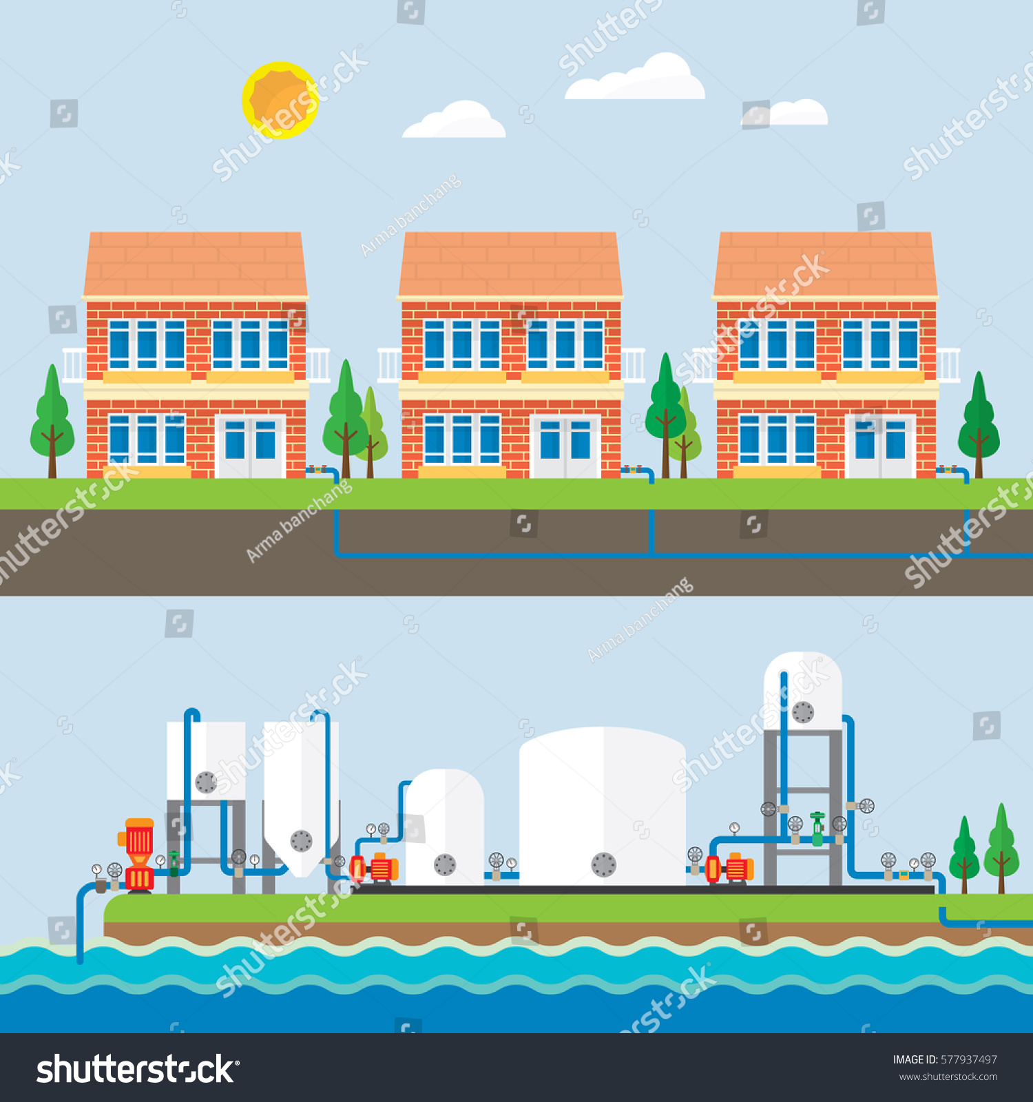 Water Treatment Plant Water Supply Pipe Stock Vector
