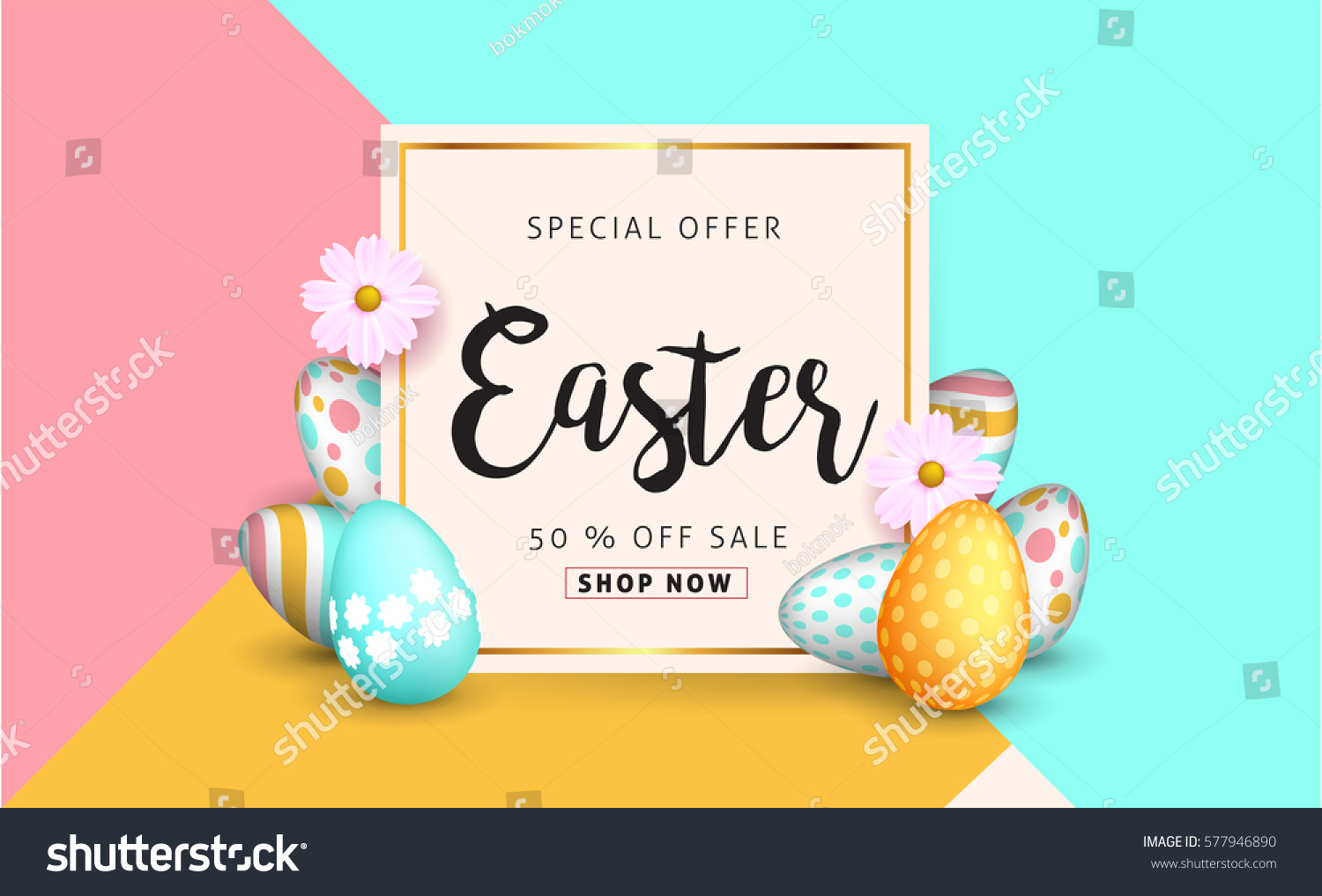 Easter sale banner background template with beautiful colorful spring flowers and eggs. Vector illustration. #577946890