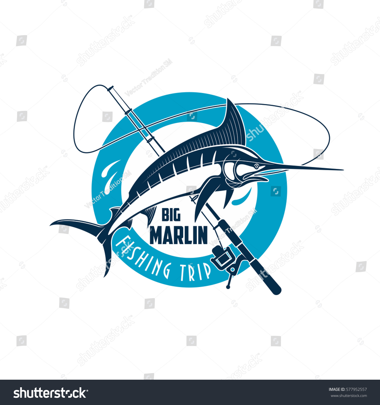 Marlin fishing sport emblem marlin fish stock vector 577952557 marlin fish on a spinning rod round badge for sea fishing biocorpaavc Choice Image